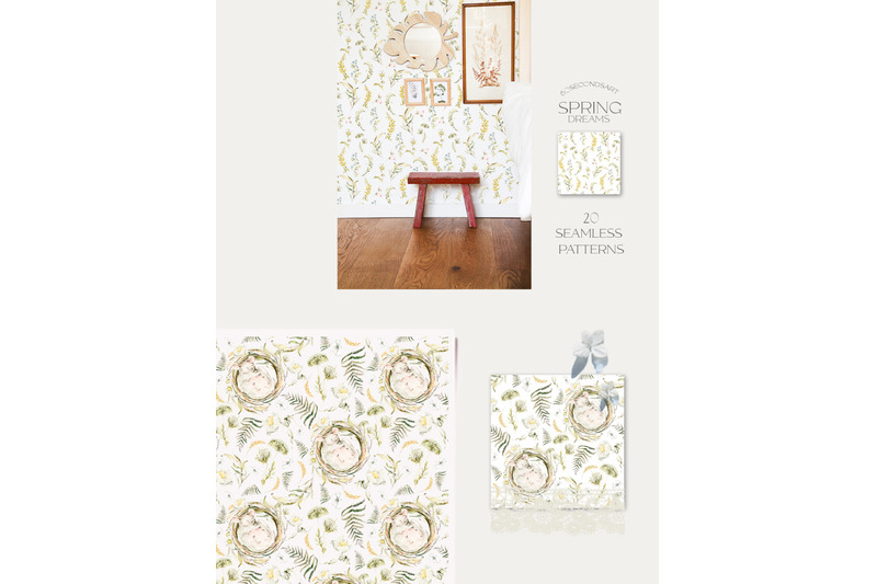 woodland-patterns-watercolor-nursery-clipart