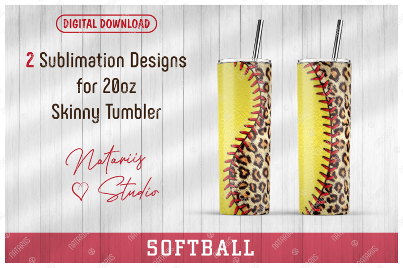 2-softball-leopard-print-patterns-for-20oz-skinny-tumbler