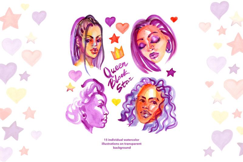 watercolor-fashion-afro-girls