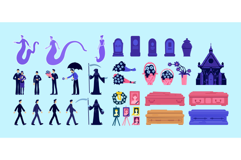 death-and-funeral-flat-color-vector-objects-set
