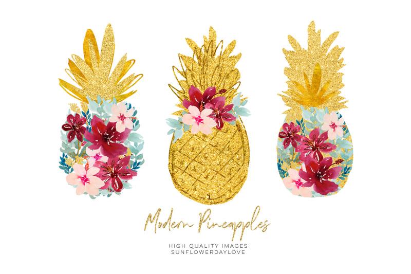 marsala-pineapple-clip-art-tropical-print-clip-art-hibiscus-floral