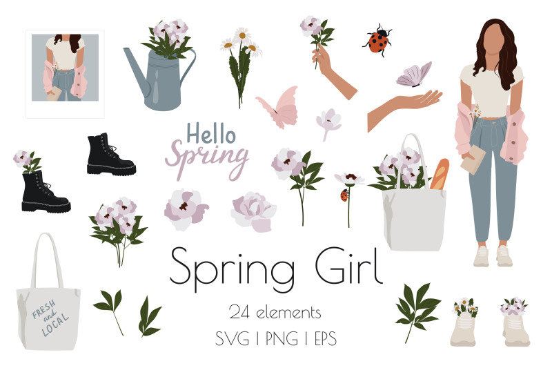 spring-girl-and-flowers-set