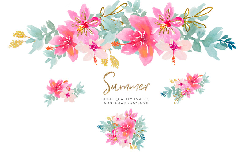 tropical-watercolor-flower-clipart-pink-watercolor-flowers-clipart