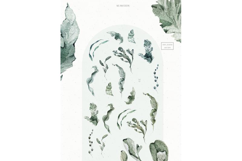 underwater-watercolor-patterns-set