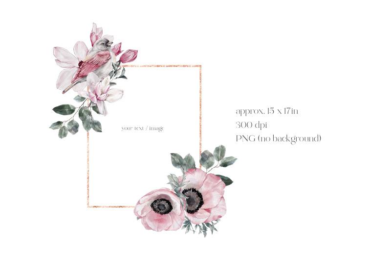 watercolor-floral-rose-gold-frame-birds-rectangular-frame-pn