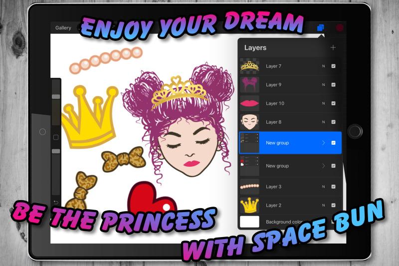 little-princess-messy-space-bun-procreate-brush-set