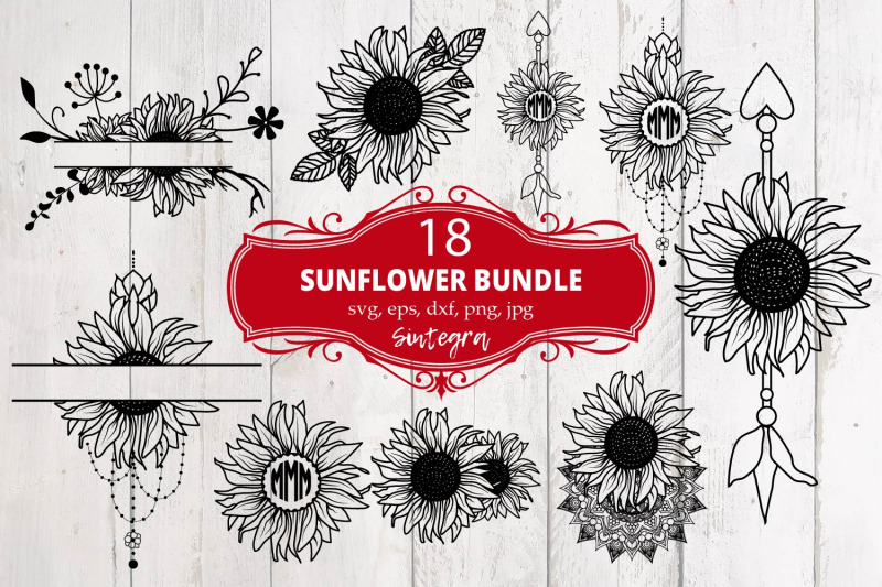 sunflower-18-monograms-bundle-svg-file