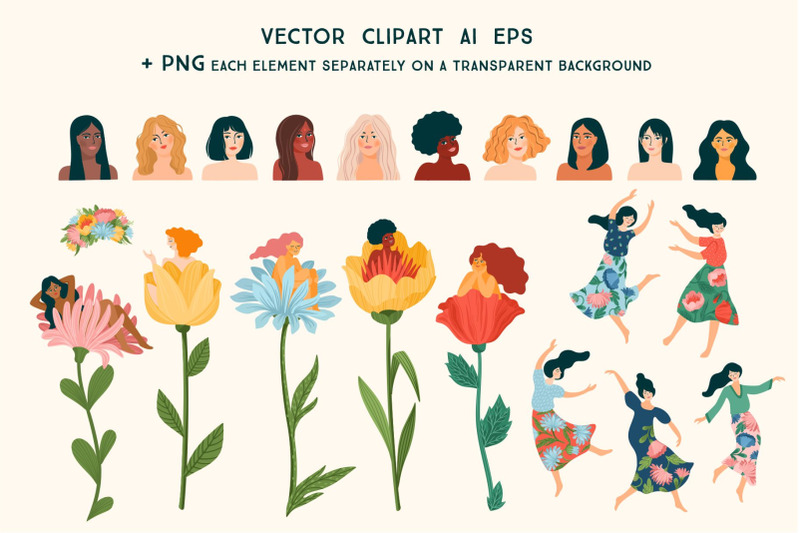women-are-flowers-vector-collection
