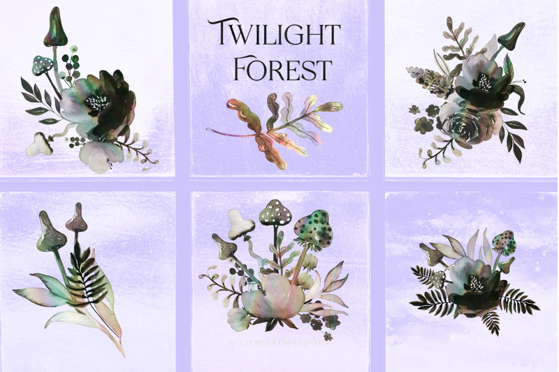 twilight-forest-watercolor-mushrooms-watercolor-clipart