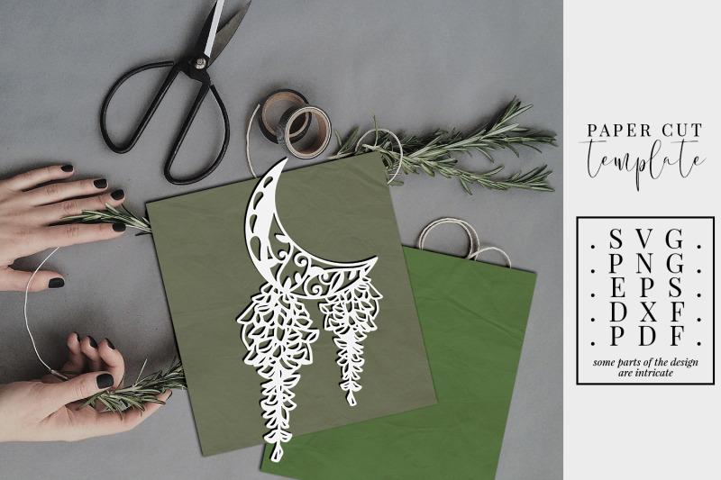 crescent-moon-3-papercut-template-floral-paper-cut-svg-dxf-png