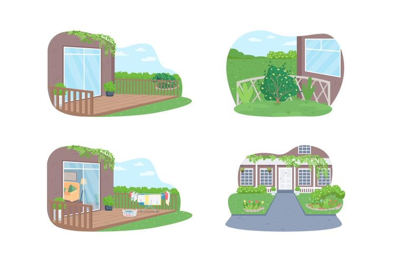 outdoor-suburban-home-2d-vector-web-banner-poster-set