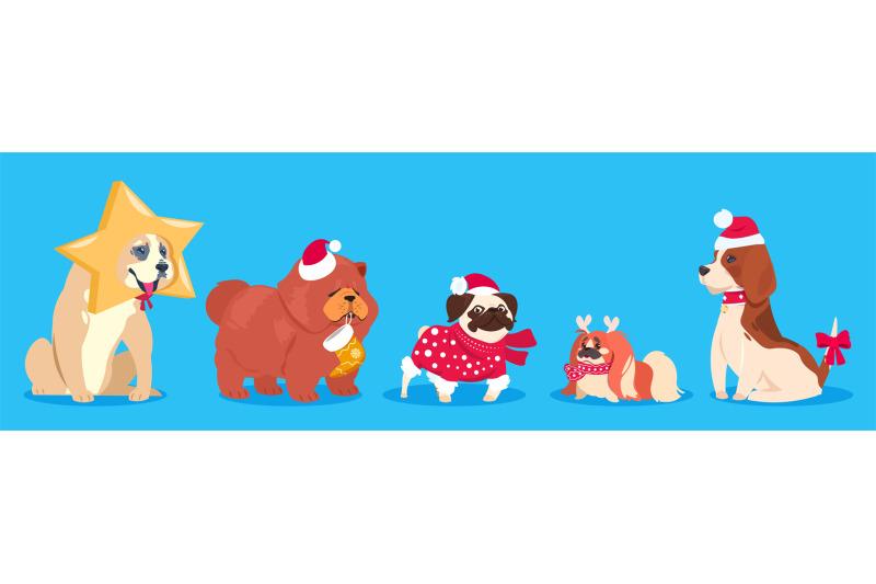 christmas-dogs-winter-vector-animals-cute-cartoon-dogs-in-santa-hat