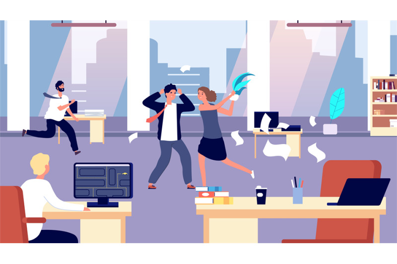 office-brawl-chaos-in-workplace-negative-employees-in-office-bad-or