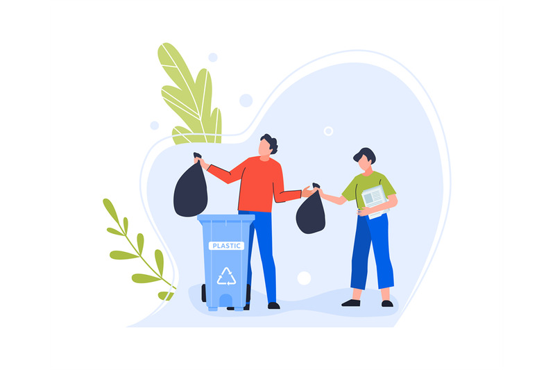 plastic-garbage-bin-woman-character-and-man-trow