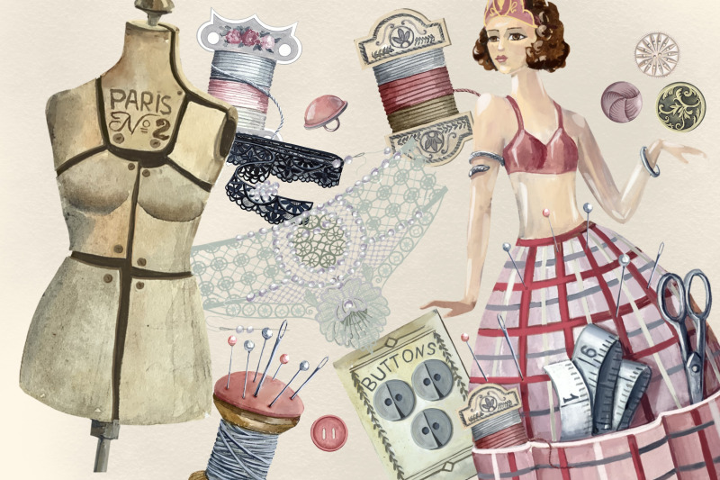 sewing-clipart-antique-watercolor-set-branding-kit-retro-sewing-clip