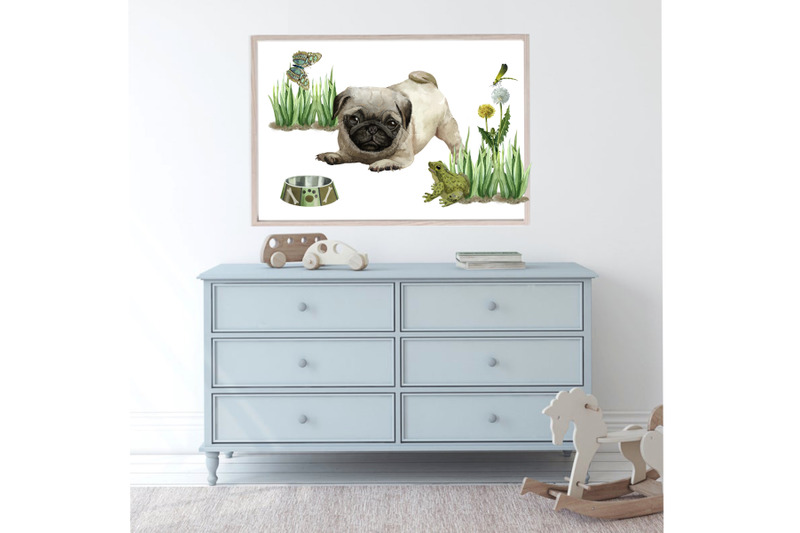 dogs-watercolor-clipart-pug-puppies-and-mom-watercolor-clip-art-dog