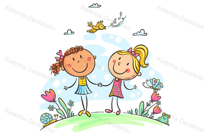friends-walking-outdoors-cartoon-girls