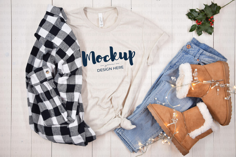 Download Beige Christmas Shirt Mockup Free Mockups