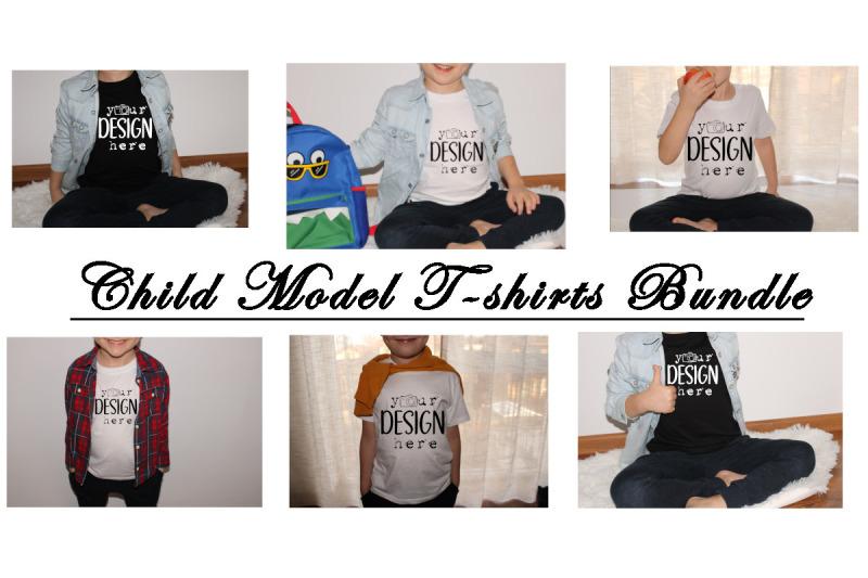 Download Child Model T-shirts Bundles, Kids Mockups Bundle, Real T-shirts, Todd Free Mockups