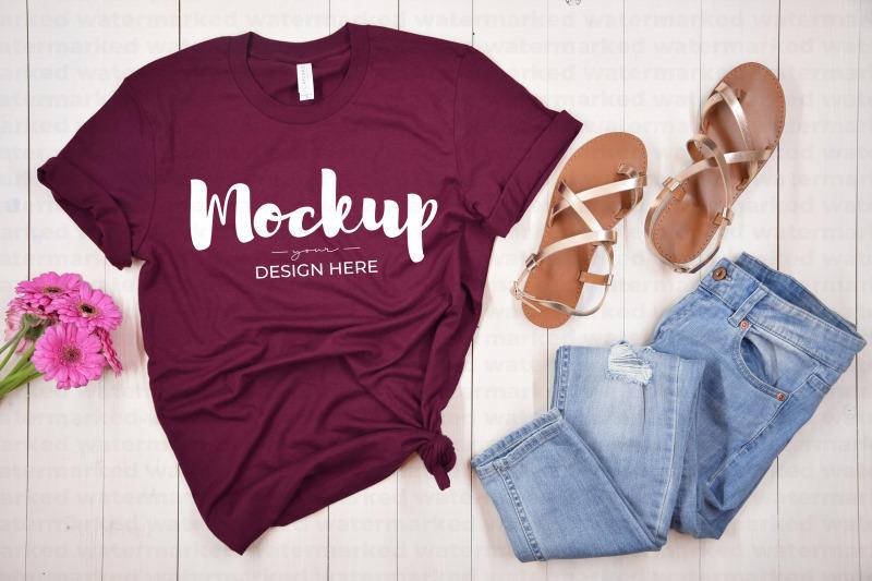 Download Maroon Spring Shirt Mockup Free Mockups