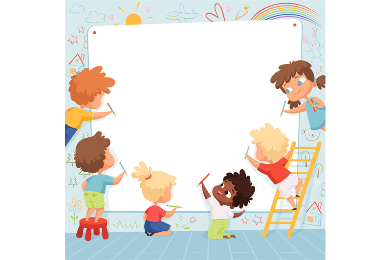 kids-frame-cute-characters-childrens-painting-drawing-and-playing-emp