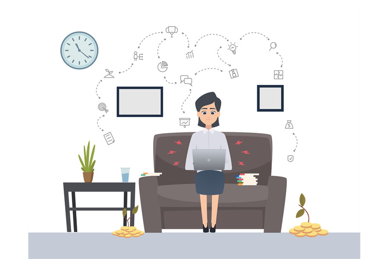 woman-works-with-laptop-freelance-single-startup-vector-concept-fem
