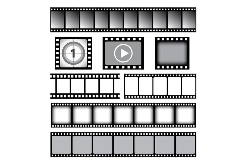 film-strip-cinema-or-photo-tape-movie-35mm-strip-reels-vector-graphic