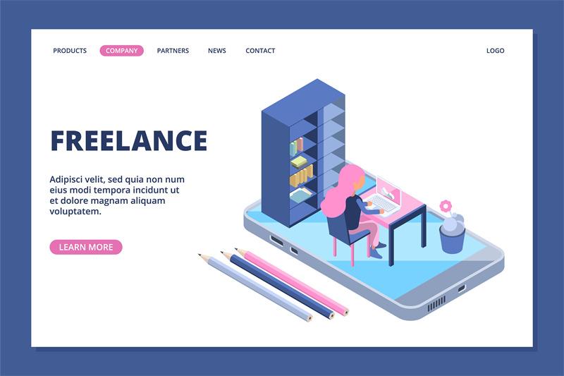 freelance-landing-online-office-concept-isometric-girl-works-online