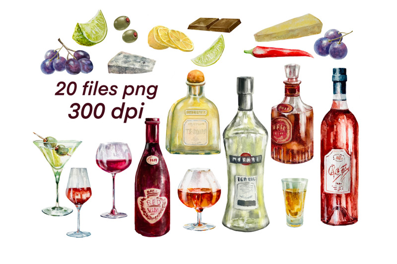 alcohol-drinks-watercolor-clipart