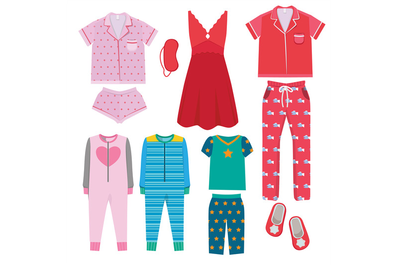 pajamas-textile-night-clothes-for-kids-and-parents-sleepwear-bedtime