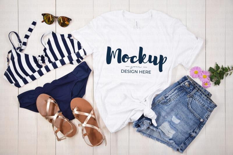 Download White Summer T-Shirt Mockup with Bikini Free Mockups