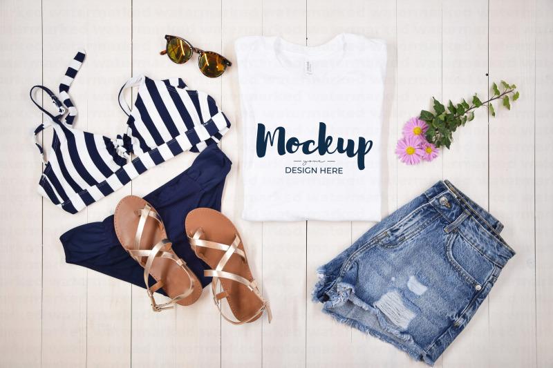 Download White Folded Summer T-Shirt Mockup Free Mockups