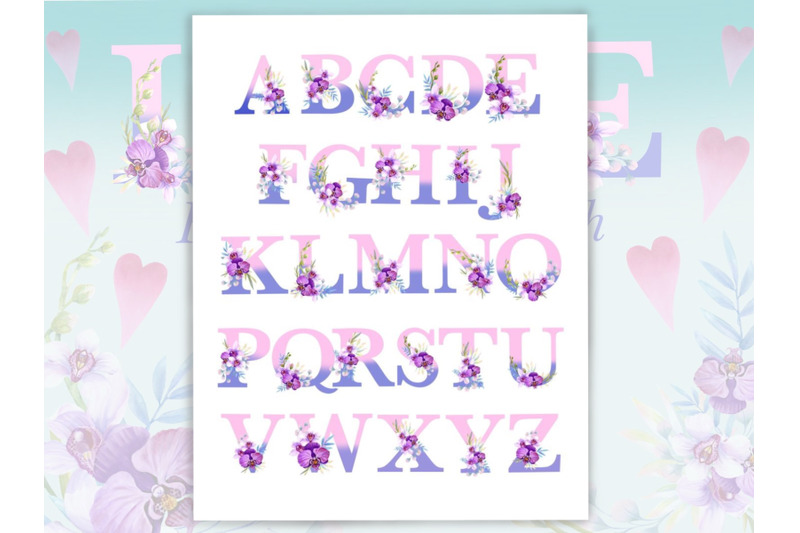 floral-alphabet-with-watercolor-orchids-monogram-letters-wedding-decor