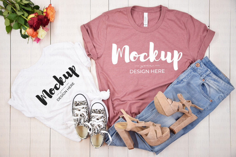 Download Mothers Day Shirt Mockup, Mommy and Me T-Shirt Template Free Mockups