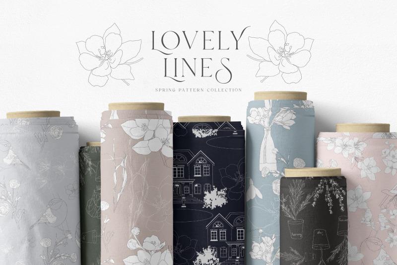 line-art-spring-seamless-patterns-jpeg-png