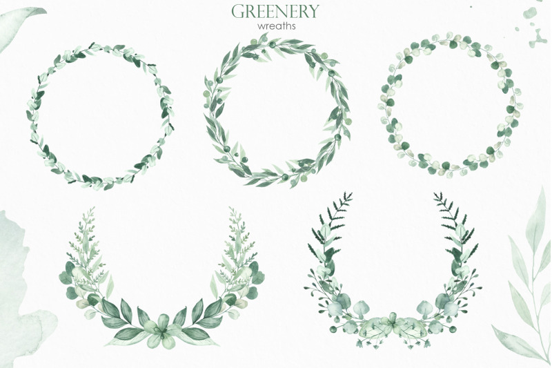 greenery-watercolor-collection