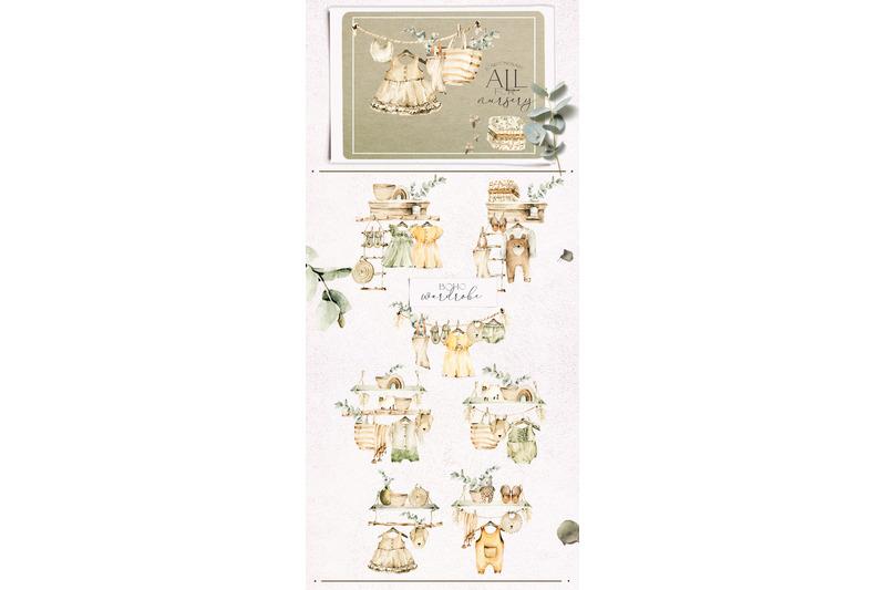 boho-nursery-clipart-baby-watercolor-collection