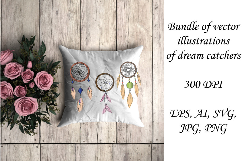 bundle-of-colorful-dream-catcher-hand-draw