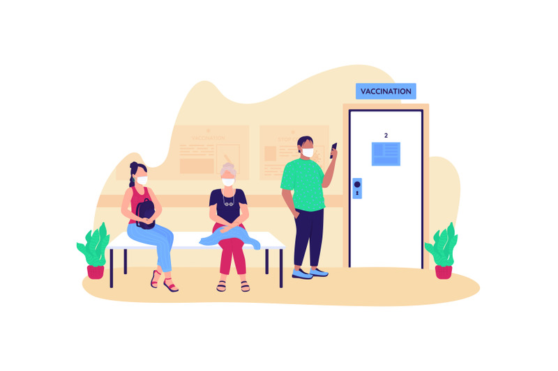 people-waiting-for-vaccination-flat-concept-vector-illustration