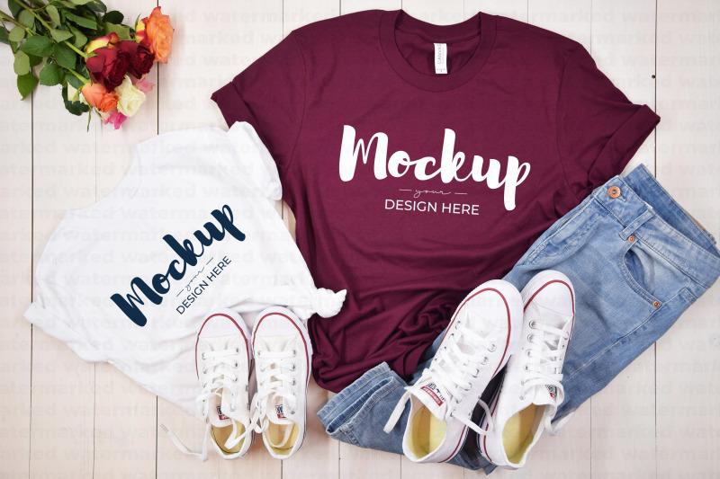 Download Mother Daugther Shirt Mockup, Maroon, White Free Mockups