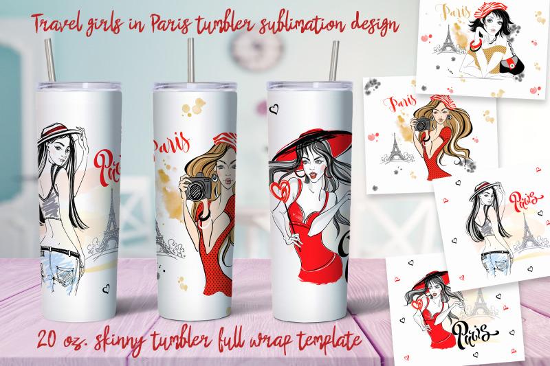 travel-girls-in-paris-tumbler-sublimation-design-png