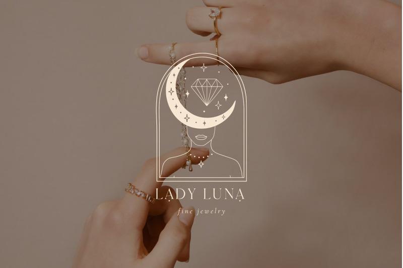 lady-luna-pre-made-brand-logo-designs-blog-tarot-tattoo-moon-star