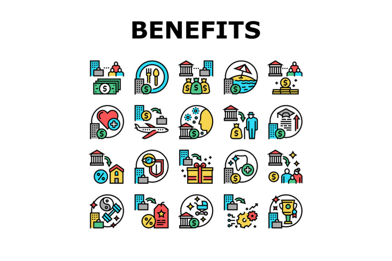 benefits-for-business-collection-icons-set-vector