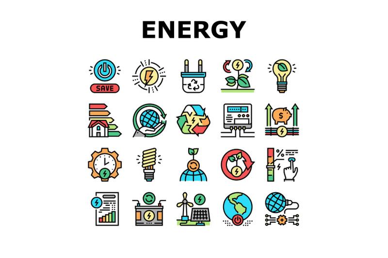 energy-saving-tool-collection-icons-set-vector