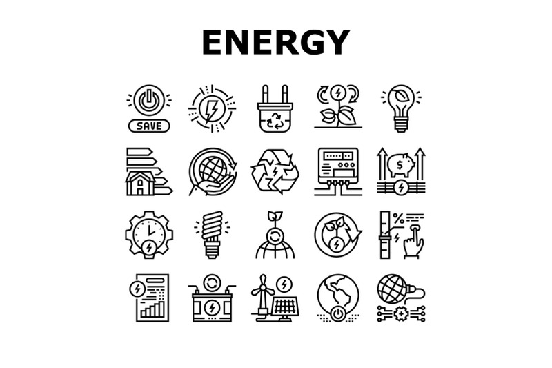 energy-saving-tool-collection-icons-set-vector