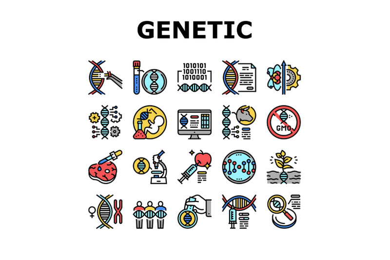 genetic-engineering-collection-icons-set-vector-illustration