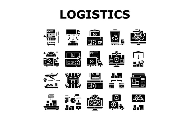 logistics-business-collection-icons-set-vector-illustration