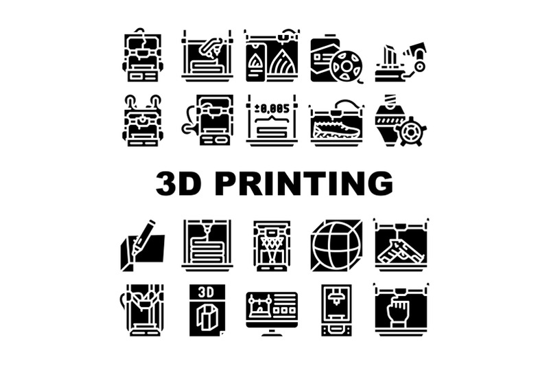 3d-printing-equipment-collection-icons-set-vector