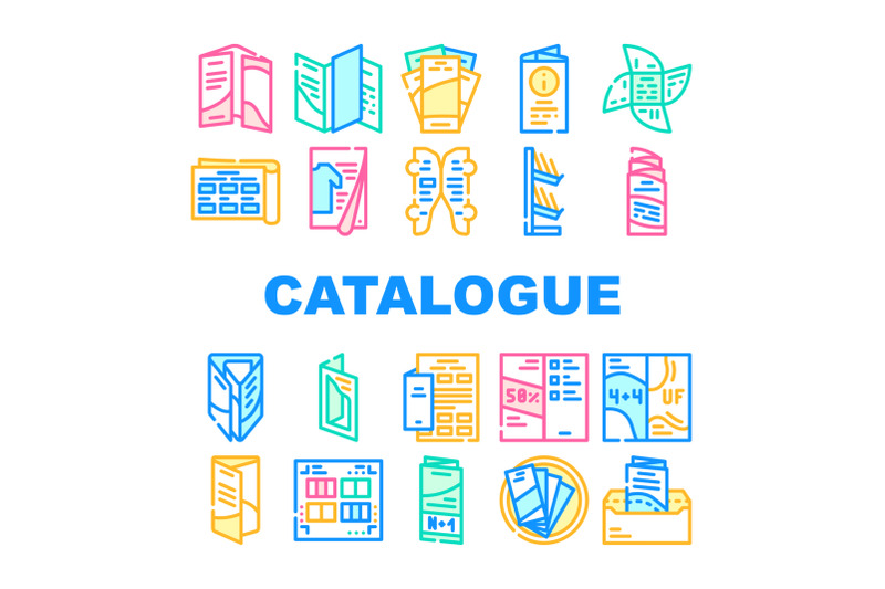 catalog-and-booklet-collection-icons-set-vector