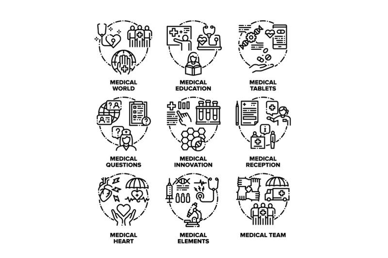 medical-aid-set-icons-vector-black-illustrations